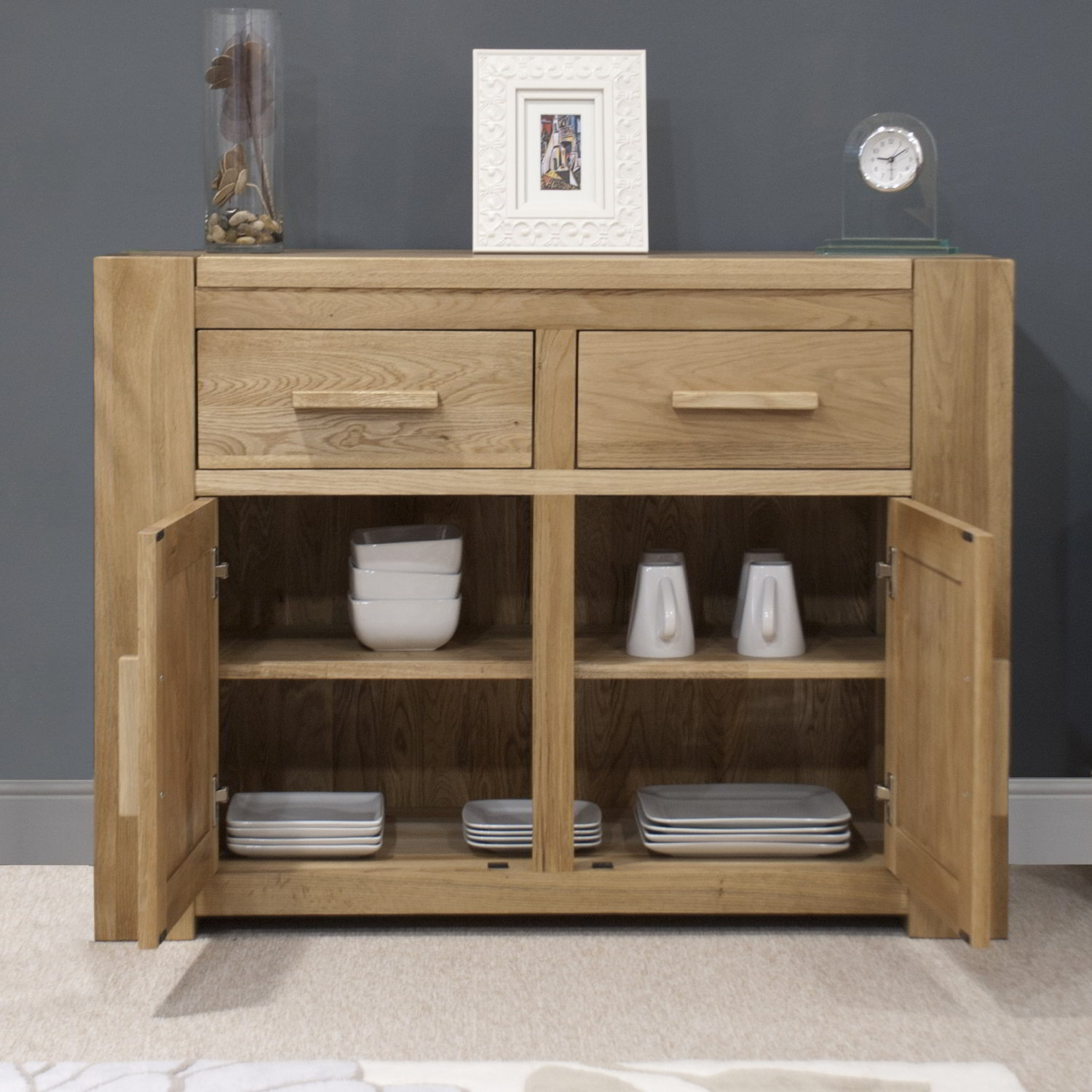 pemberton solid oak living room furniture medium storage sideboard