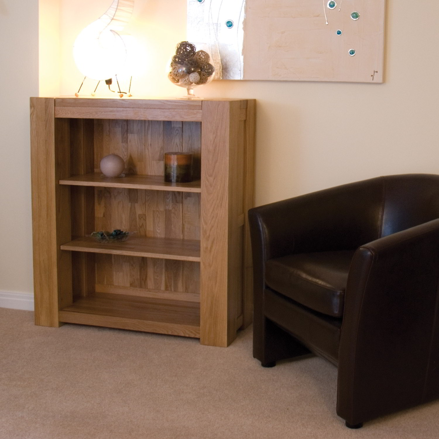 Pemberton Solid Oak Furniture Small Living Room Office Bookcase