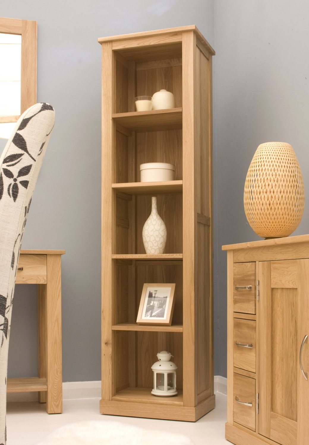 Details About Conran Solid Oak Modern Furniture Narrow Living Room Office Bookcase