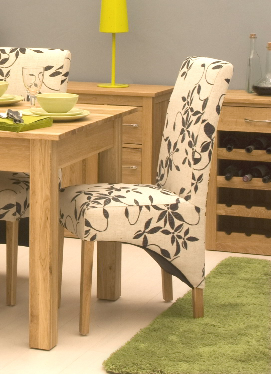 Contemporary fabric chairs - Conran Solid Oak Contemporary Furniture Set Of Four Floral Fabric Dining Chairs