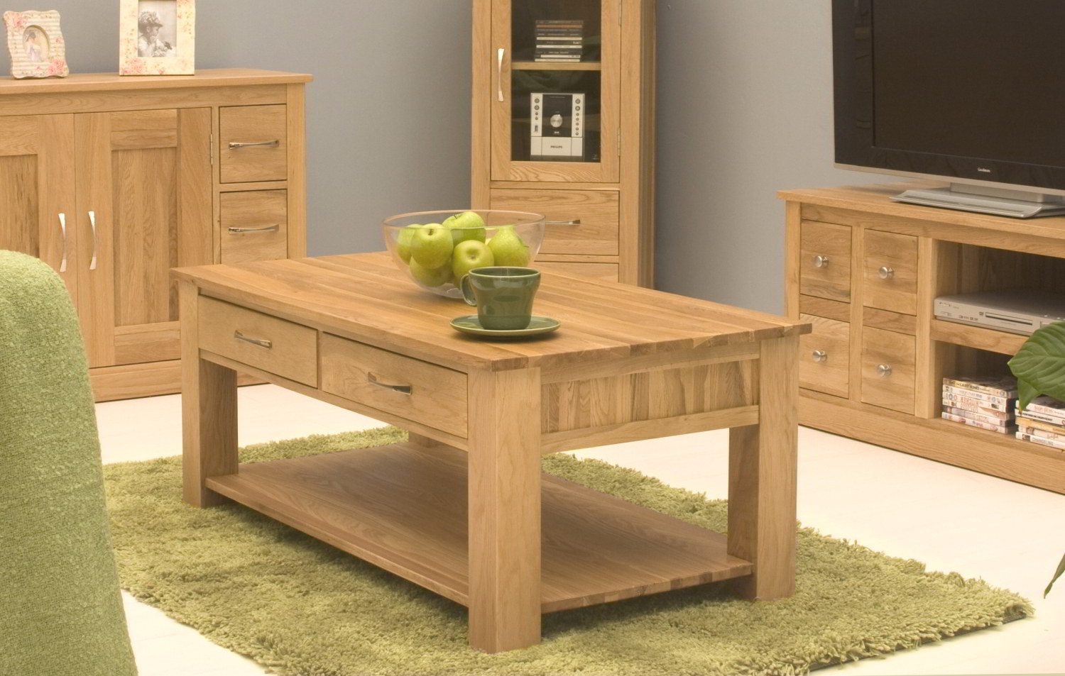 Conran Solid Oak Living Room Lounge Furniture Four Drawer Storage Coffee Table Ebay