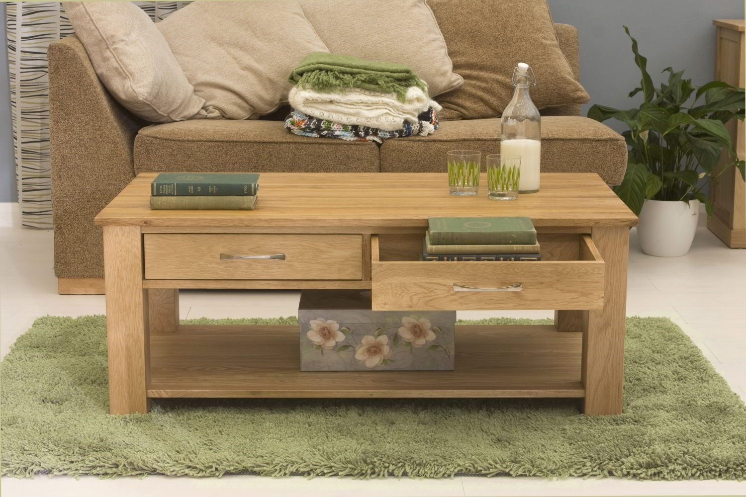conran solid oak living room lounge furniture four drawer storage coffee table