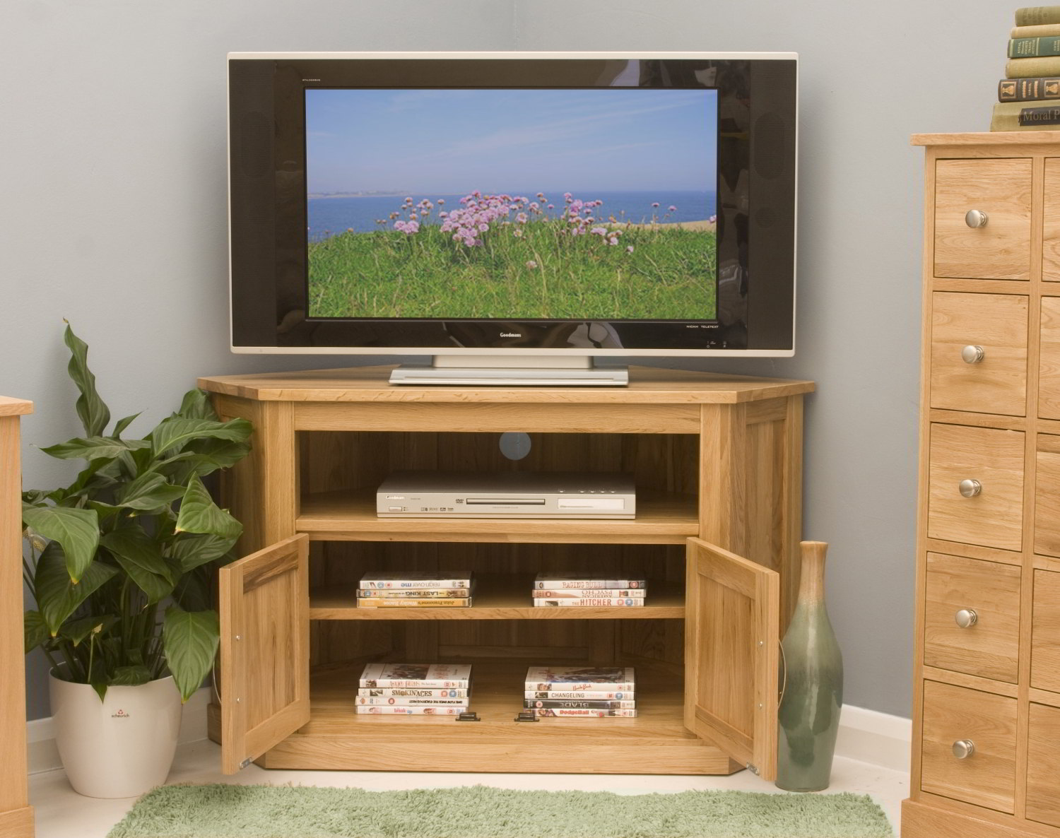 53ae6f75a78 Conran solid oak living room furniture corner television cabinet stand unit