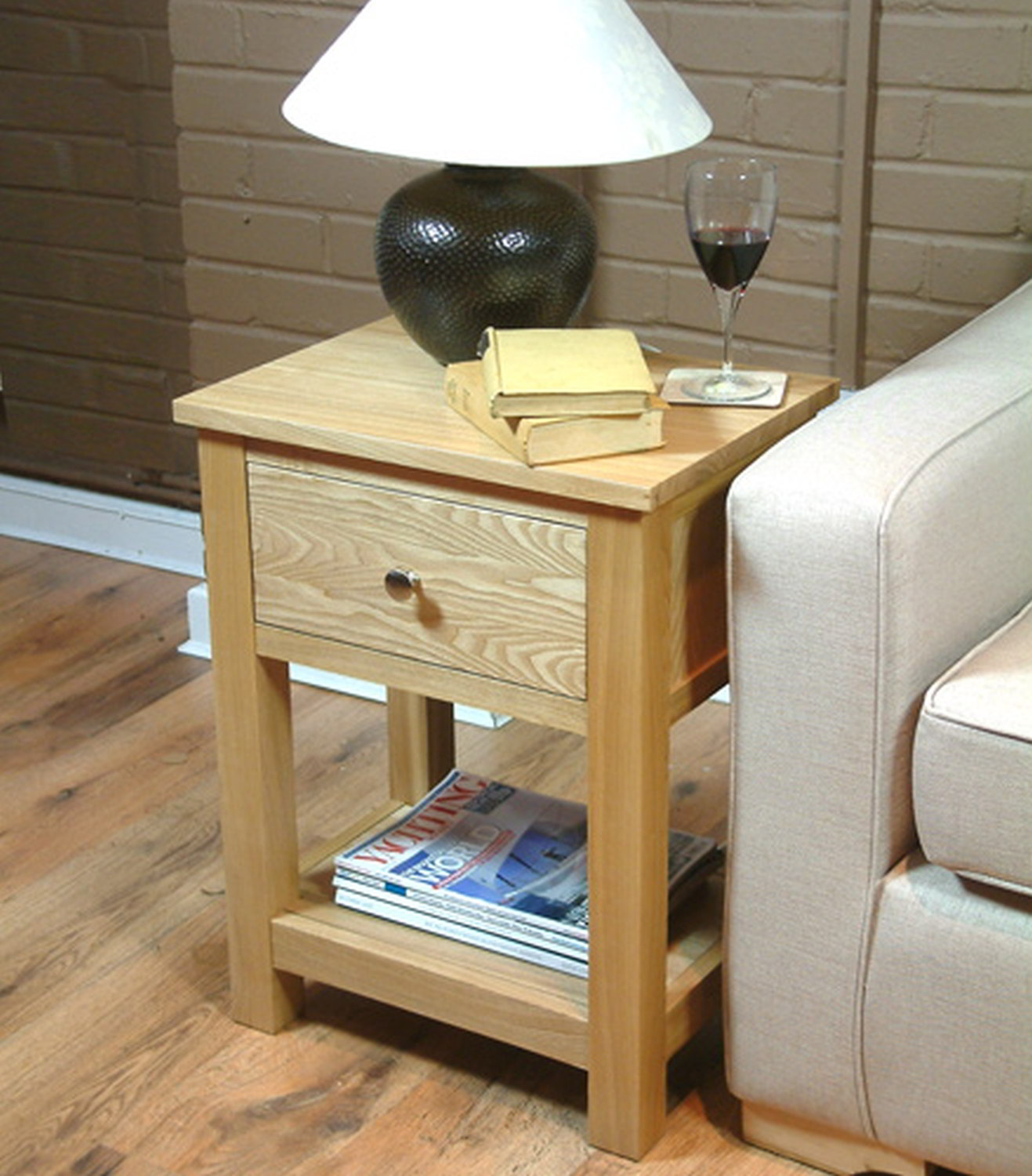 conran solid oak living room furniture side end lamp table with drawer