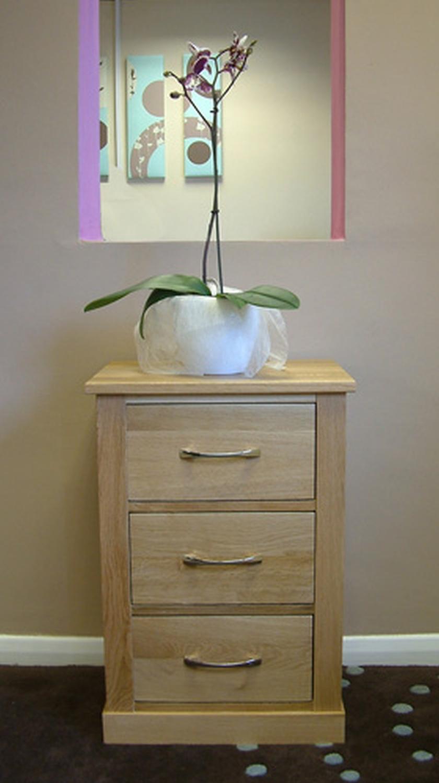 Locker Bedside Table: Conran Solid Oak Bedroom Furniture Three Drawer Bedside