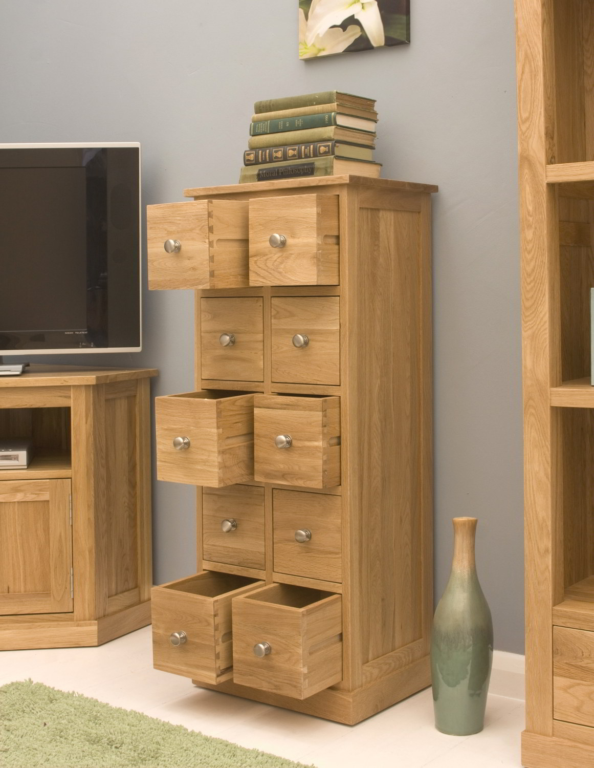 Conran solid oak contemporary furniture cd dvd storage chest of drawers unit