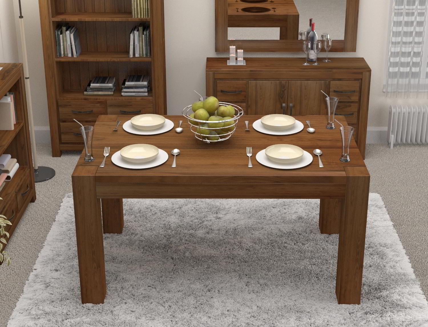 Linea Solid Walnut Home Dining Room Furniture Four Seater Table