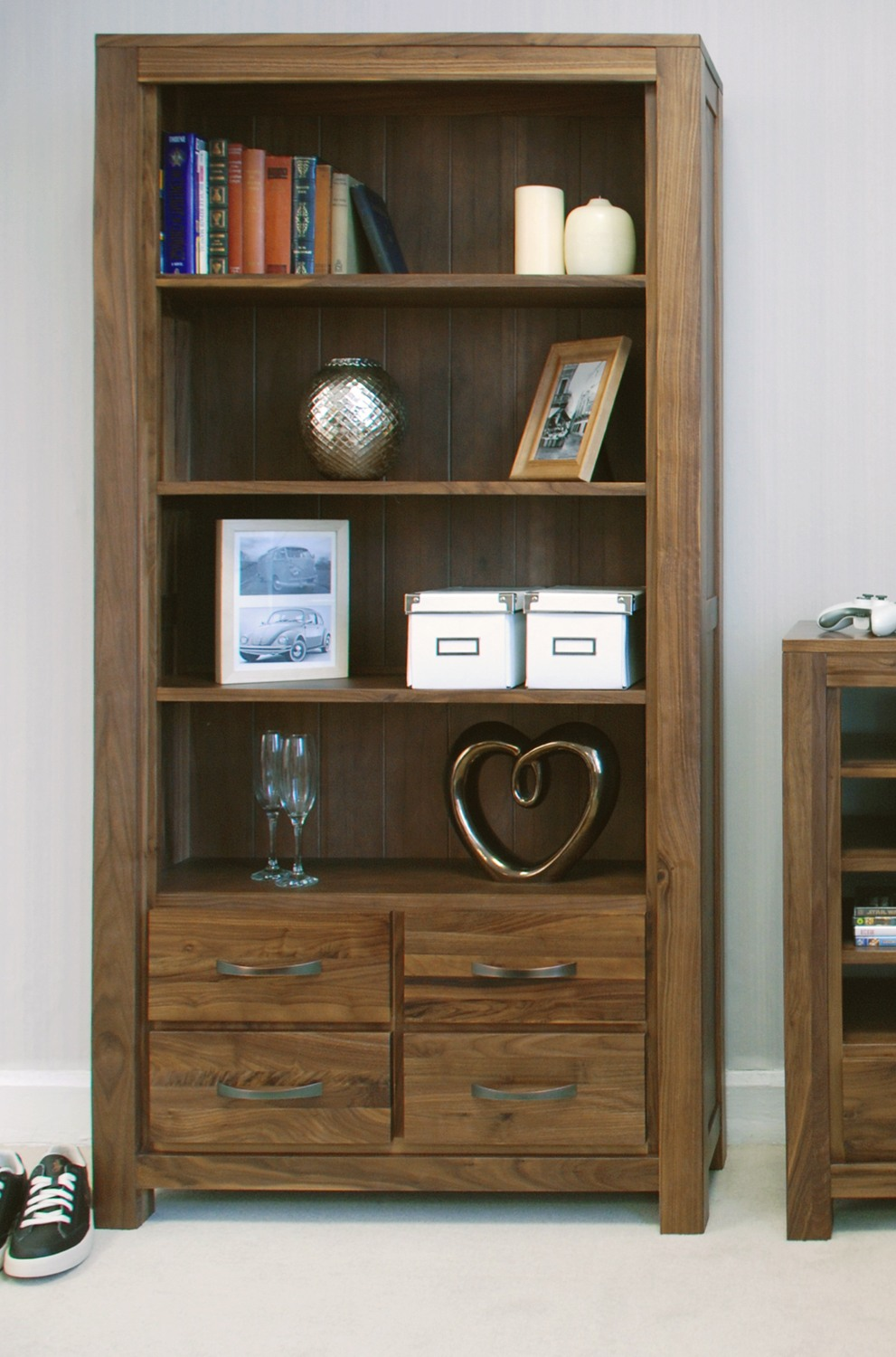 Linea solid walnut home furniture large four drawer office living room bookcase