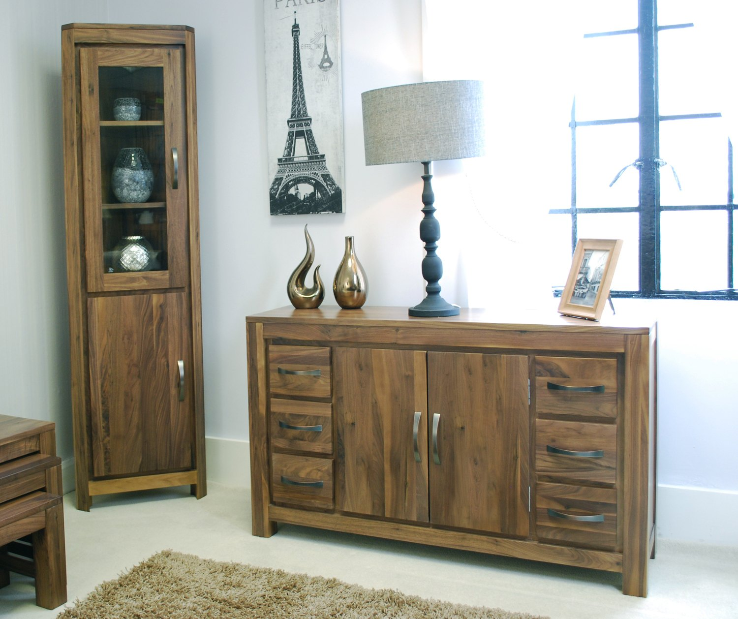 Linea Solid Walnut Home Furniture Large Six Drawer Living Dining Room Sideboard