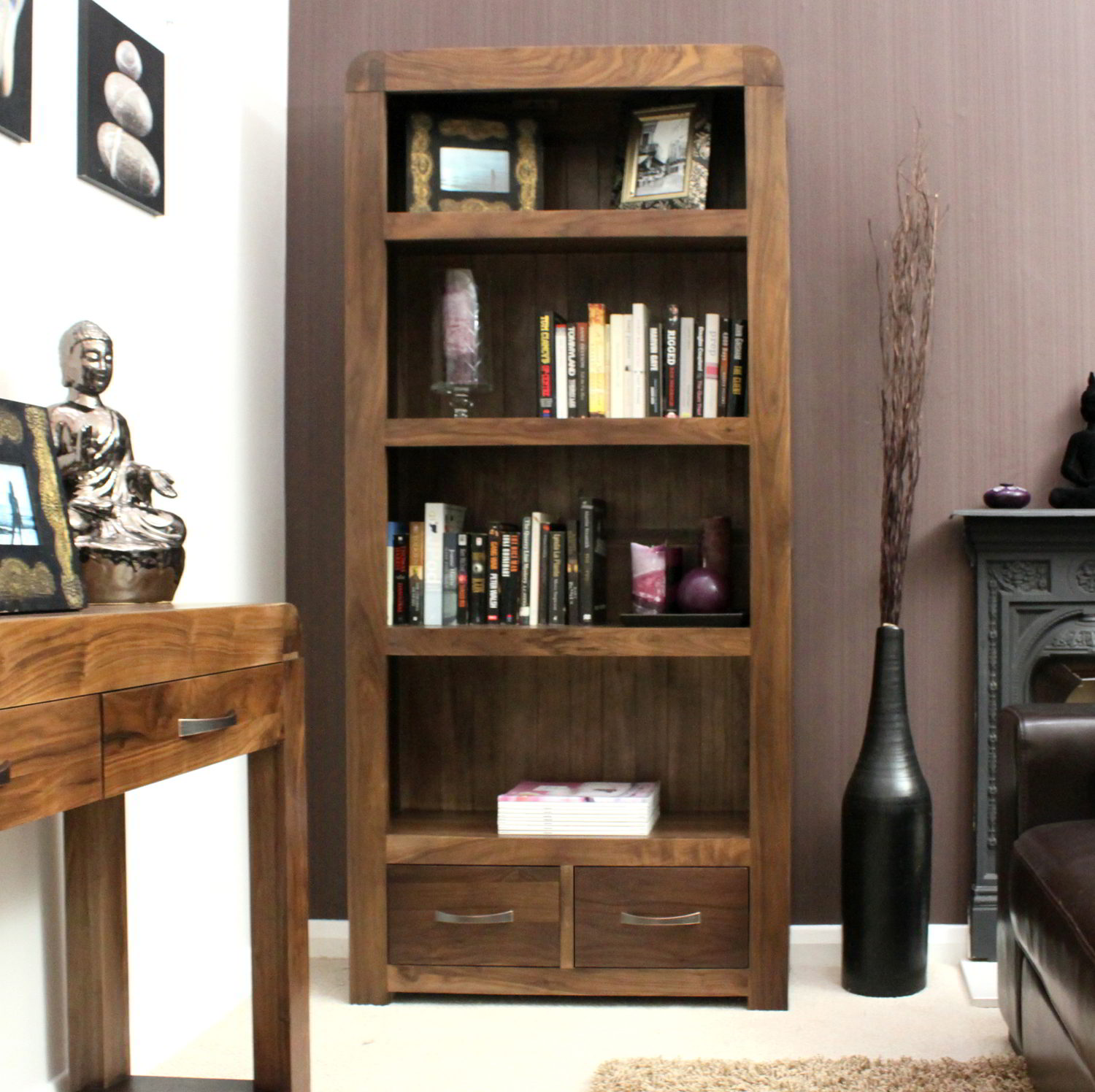 office bookshelf. Strathmore Solid Walnut Home Furniture Large Living Room Office Bookcase Bookshelf E