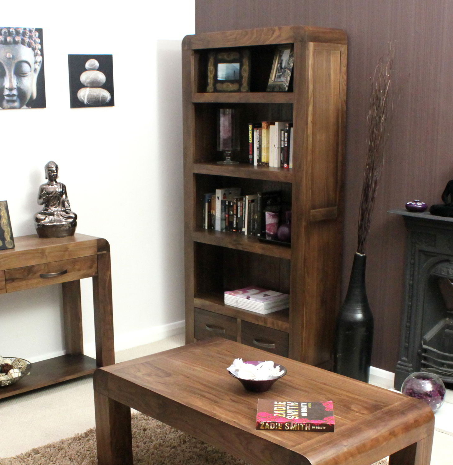 Strathmore Solid Walnut Home Furniture Large Living Room Office Bookcase