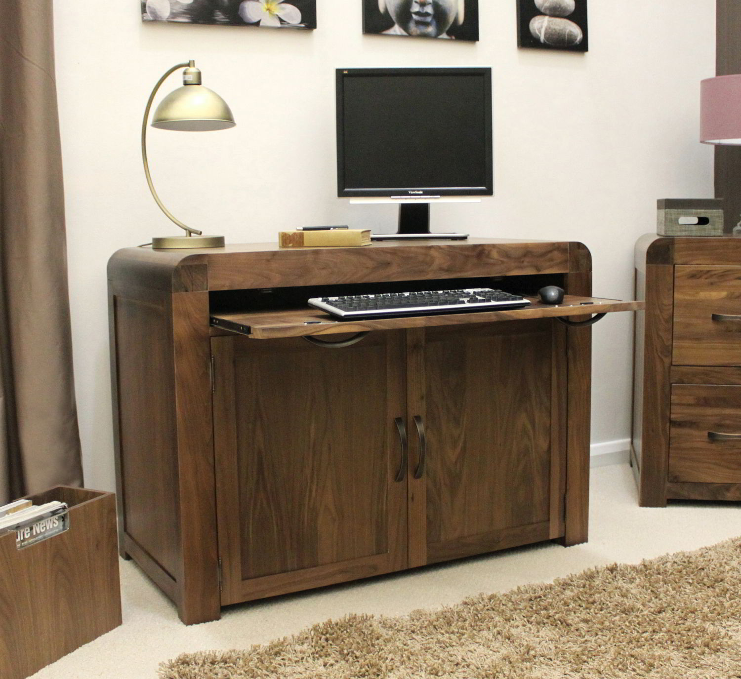 Strathmore Solid Walnut Home Furniture Hidden Office Pc Computer Desk