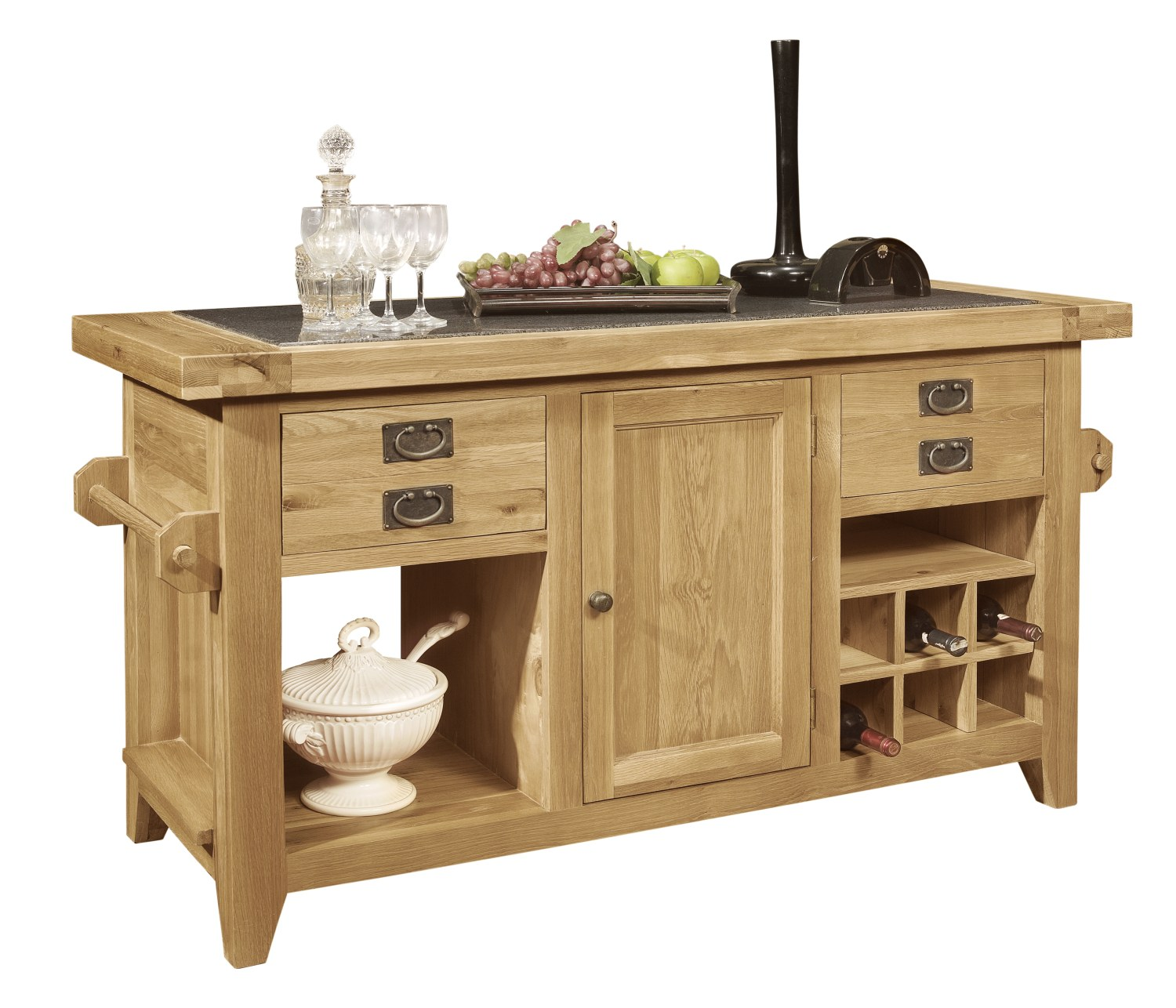 Kitchen Island Furniture Product: Panama Solid Oak Furniture Large Granite Top Freestanding