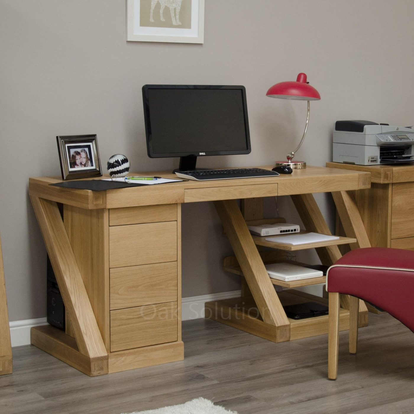 Z Solid Oak Designer Furniture Large Office Pc Computer Desk Ebay