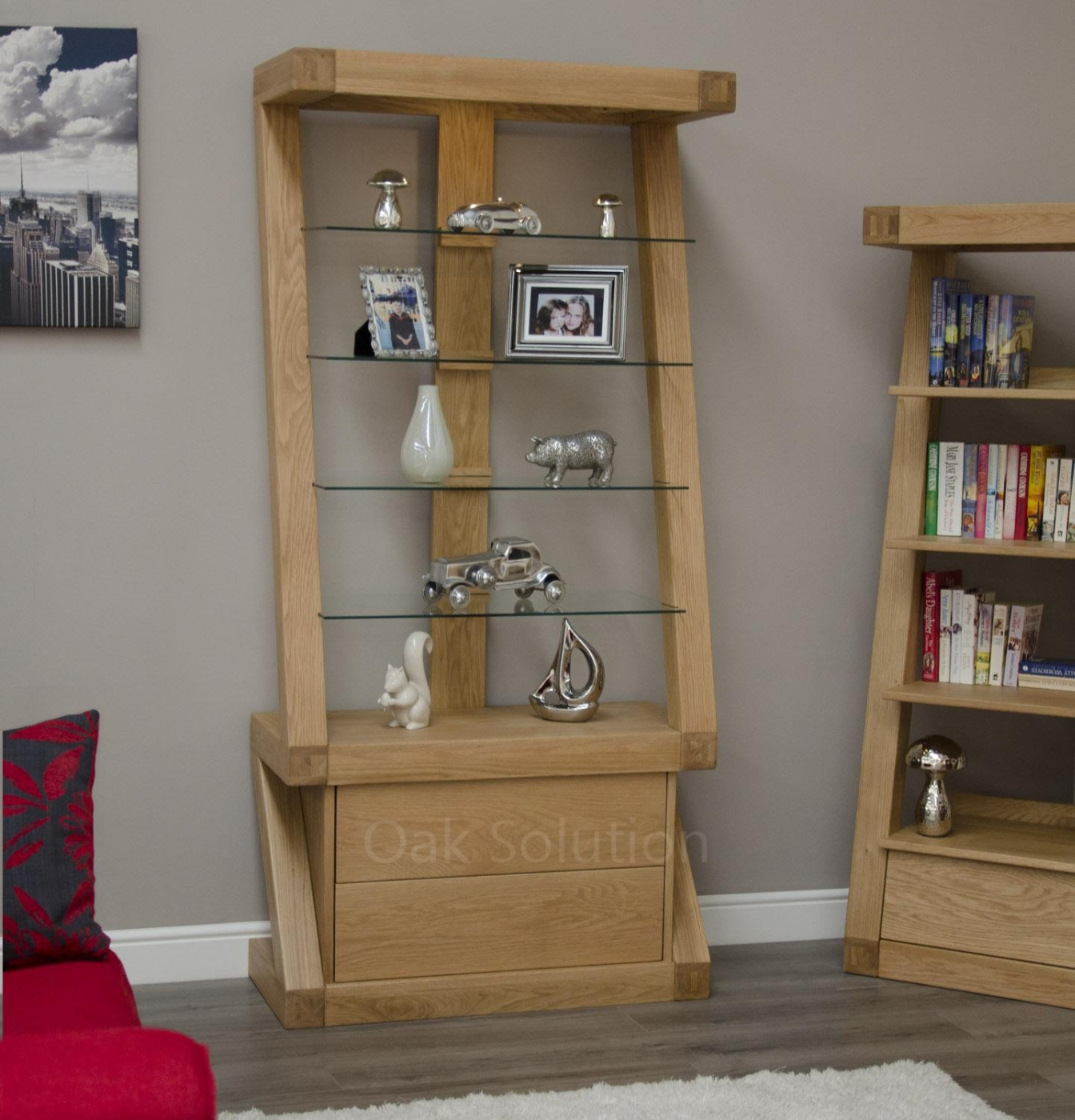 oak display cabinets for living room z solid oak designer furniture bookcase display cabinet 26908