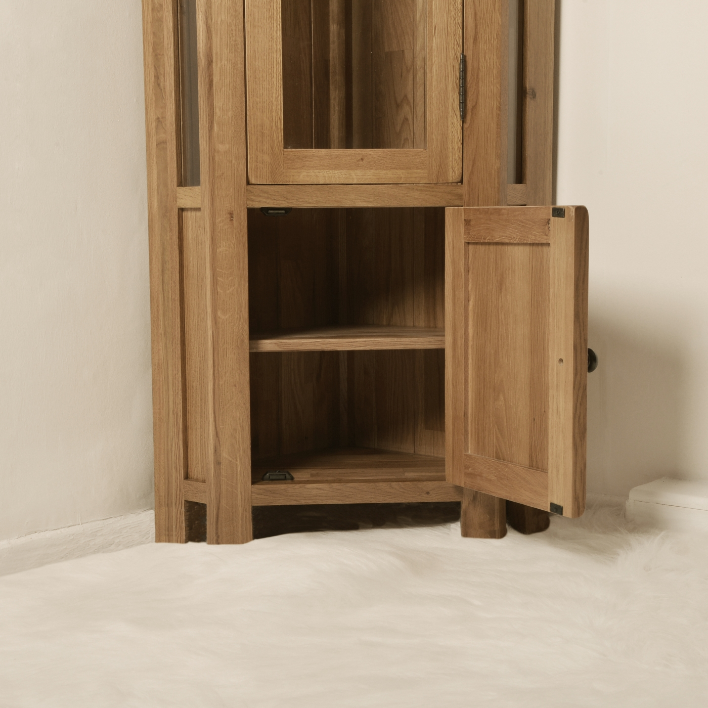 Solid Oak Corner Display Cabinet Glazed Cupboard Home