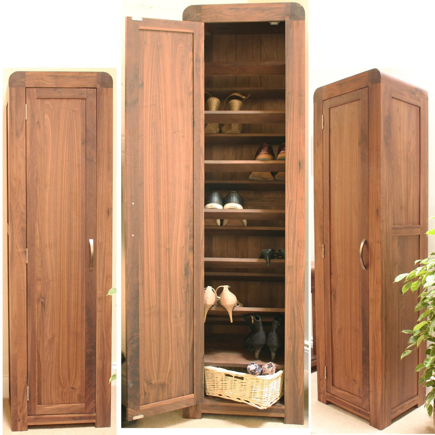 Strathmore Solid Walnut Furniture Shoe Cupboard Cabinet Tall Hallway Storage