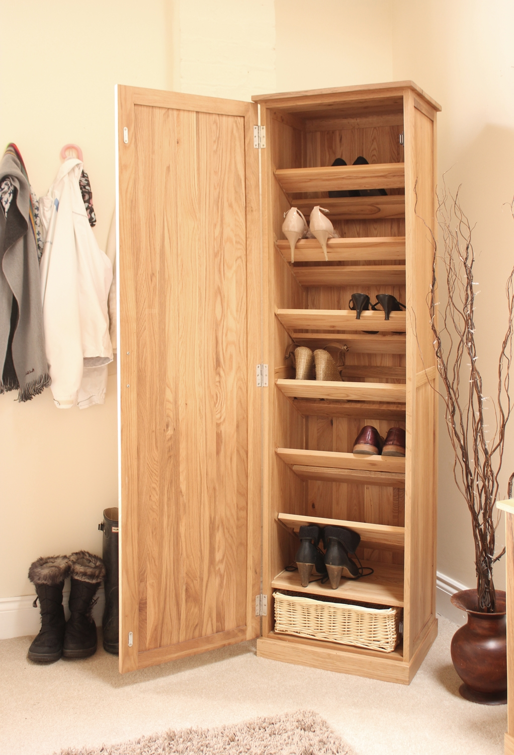 Conran Solid Oak Furniture Shoe Cupboard Cabinet Tall