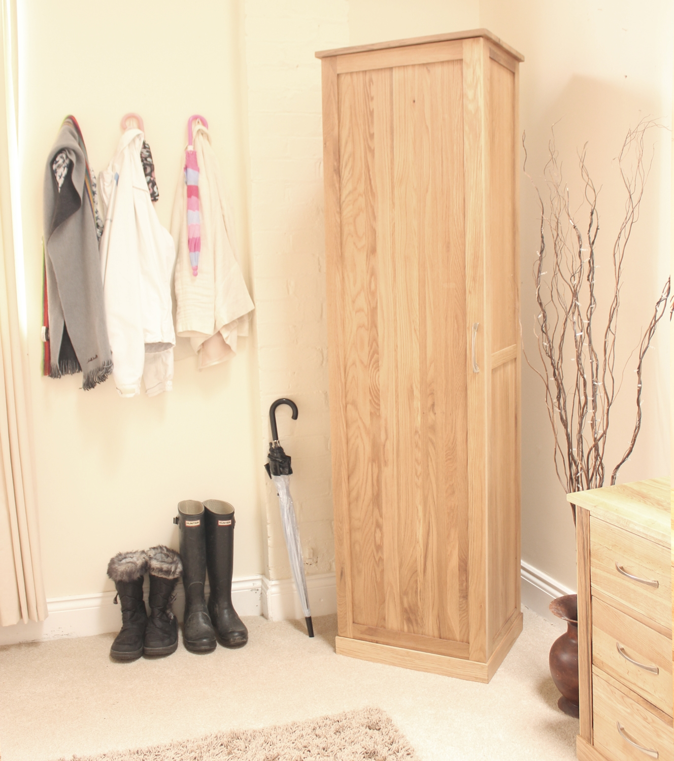 Mobel Solid Oak Furniture Shoe Storage Hallway Bench: Conran Solid Oak Furniture Shoe Cupboard Cabinet Tall